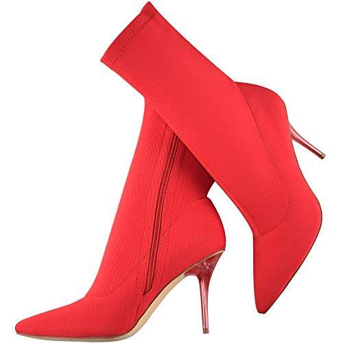 Vivi Women`s Red Pointed Toe Stretch Lycra Stiletto High Heels Ankle Boots Size - Heel Boots Stiletto