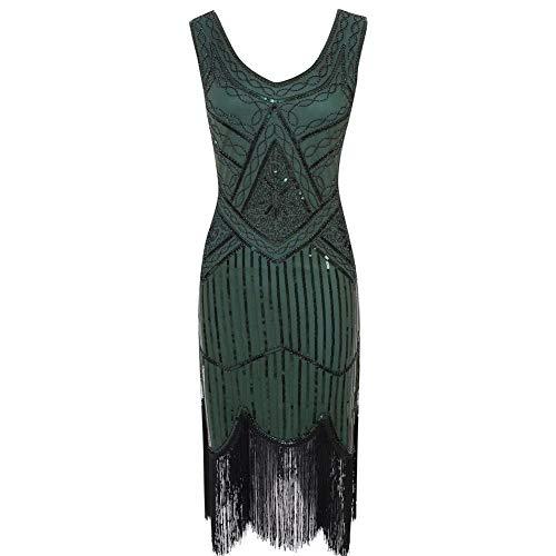 Donne Frangiato Delle Sbattere Luckgxy Perline red Prom Scollo Da Fiocco s Abito Sera 1920 Dress A V Green IP1qWgwx1t