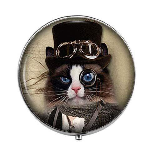 Steampunk Black and White Cat,Vintage Animal Art Photo Box/case - Three - Compartment Pill Box/Pill case