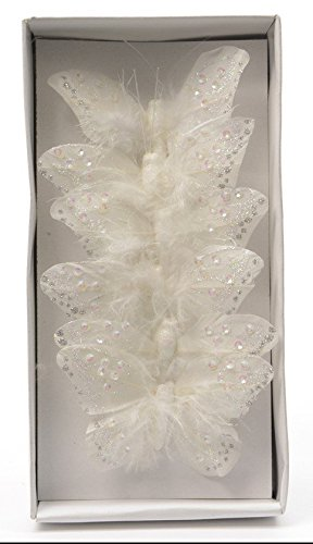 6 Feather Butterfly With Glitter Decoration On Wire Great For Xmas - White