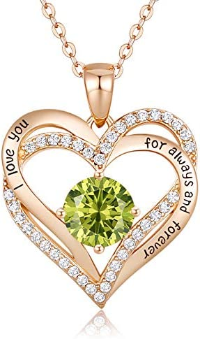 CDE Forever Love Heart Women Necklace 925 Sterling Silver Rose Gold Plated Birthstone Pendant Necklaces for Women with CubicMother's Day Jewelry Gifts Birthday Gift for Mom Women Wife Girls Her