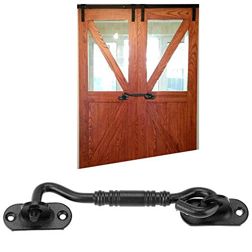 201 stainless steel sliding barn door lock for locking barn, family, bedroom, sliding and double doors, gate, garage and shed door - wrought iron heavy hook and eye button - vintage, bright decoration