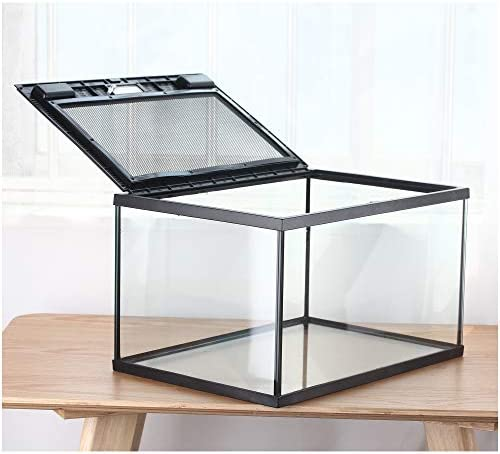 crapelles Reptile Terrarium New Rectangle Glass Box Large Black Metal Ventilation net Door for Advanced Reptile Amphibians Insect Transparency Clearly Visible Inside Waterproof Special Ventilation