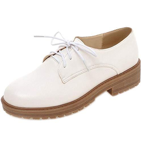 Blanc Style Derby Femmes Plate RAZAMAZA Lacets Chaussures à wta0aqEB