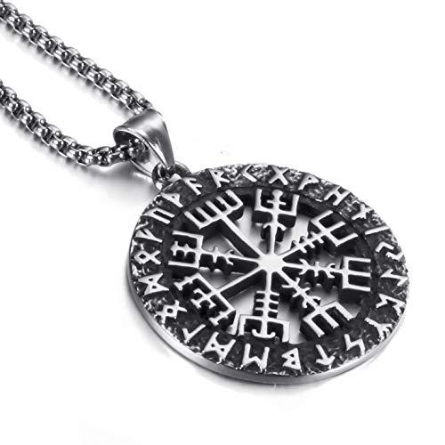 Elfasio Mens Stainless Steel Pendant Chain Viking Valknut Pirate Compass Necklace Jewelry 22 inch