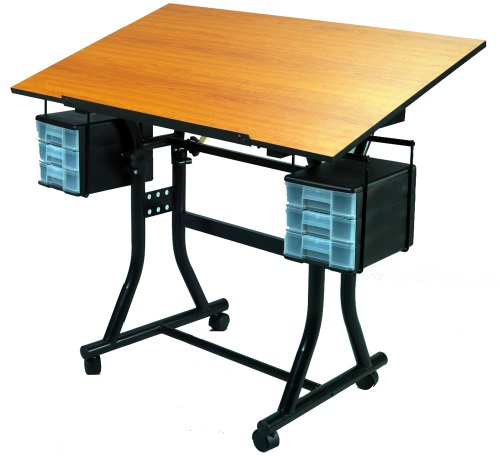 Martin Universal Design Creation Station Deluxe Drafting Table, Black with Cherry Top ()