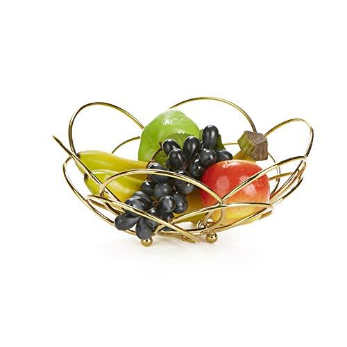 - Mind Reader FRBOWL-GLDM Stainless Steel Vegetable Display, Bowl, Fruit Storage Basket, Kitchen, Countertop-Gold, One Size