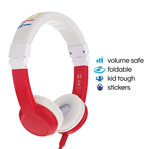 (BuddyPhones Explore | Kids Headphones | Foldable, Durable, Comfortable | Kids Safe Volume Limiting Headphones with Audio Splitter & Mic | Red)