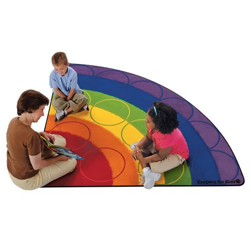 Carpets for Kids 1266 Rainbow Rows Corner Kids Rug Size: Square 6' 6' , 6' , Multicolored by Carpets for Kids