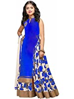 Spangel Fashion Girls' Bhagalpuri Semi-Stitched Lehenga Choli (spangel_kids Blue, 11-15 Year)