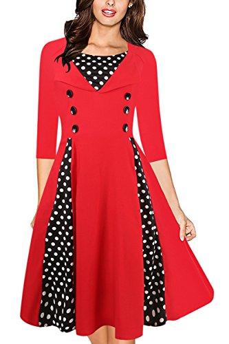 Cru Robe Rétro Des Années 50 Femmes Yming Rockabilly Robe À Pois Manches Robe Rouge Pinup Long