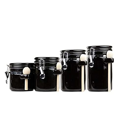Home Basics 4PC Ceramic Canister Set W/Spoon (Black)