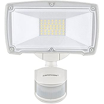 LEPOWER 2500LM Outdoor Motion Sensor Lights, 28W LED Security Light, 5500K, IP65 Waterproof & ETL Certification, Adjustable Head Motion Flood Lights for ...