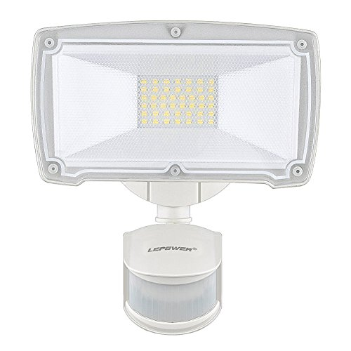 - LEPOWER 2500LM Outdoor Motion Sensor Lights, 28W LED Security Light, 5500K, IP65 Waterproof & ETL Certification, Adjustable Head Motion Flood Lights for Entryways, Stairs, Yard, Front Door