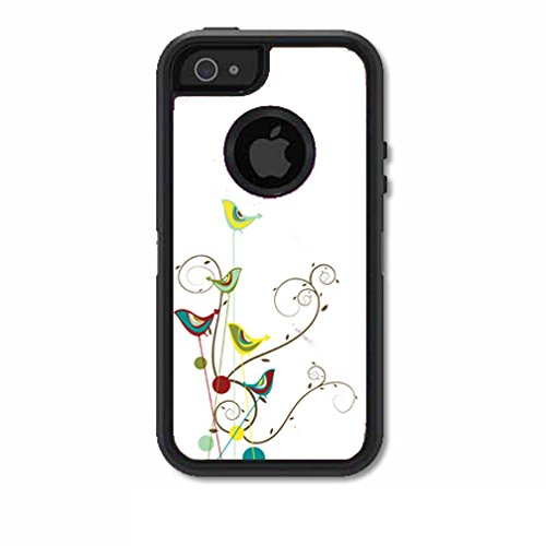 Price comparison product image Skins Kit for OtterBox Defender Case for iPhone 5 or 5S (skins / decals only) - baby birds on flowers animated drawing