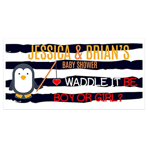 Penguin Stripes Baby Shower Banner Personalized Party Backdrop Decoration ()