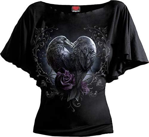 Spiral Raven Heart Frauen T-Shirt schwarz Everyday Goth, Gothic, Rockwear: Odzież