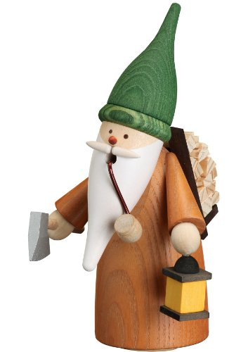 Seiffener Volkskunst German incense smoker collector of wood gnome, height 16 cm / 6 inch, original Erzgebirge -