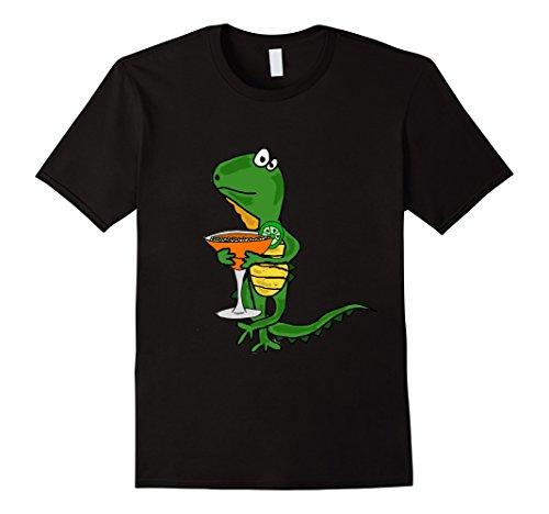Mens Smiletodaytees Cool Iguana Drinking Margarita T-shirt Large Black