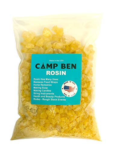 Camp Ben Pine Rosin - Tree Resin - for Making Beeswax Food Wraps, Natural Hand Grip Enhancer - Baseball, Softball, Tennis, Rodeo and Rough Stock Bucking, Bull Riding, Gum Nugget Rock Form