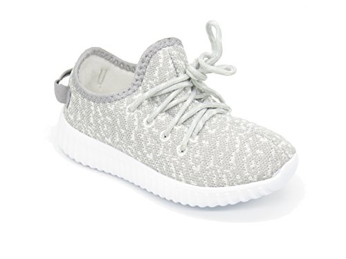 Blue Berry EASY21 Boy's and Girls' Breathable Fashion Sneakers Casual Slip-on Loafers Running Shoes,Grey,Size 1