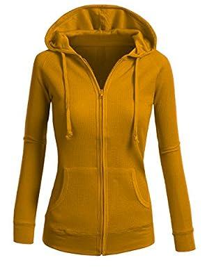 ViiViiKay Womens Casual Plain or Thermal Knitted Solid Zip-Up Hoodie Jacket