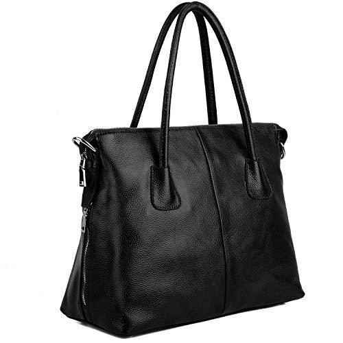 Yaluxe Woman Vintage Style sac à main en cuir souple porte-documents sacs à bandoulière larges Convient à 13 Zoll Bandoulière Noire pour ordinateur portable