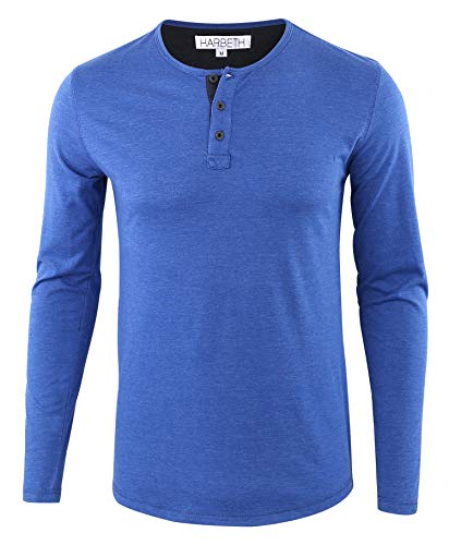 HARBETH Men's Regular Fit Long Sleeve Athletic Henley Shirt Active Jerseys Tee H.Blue/Navy XXL