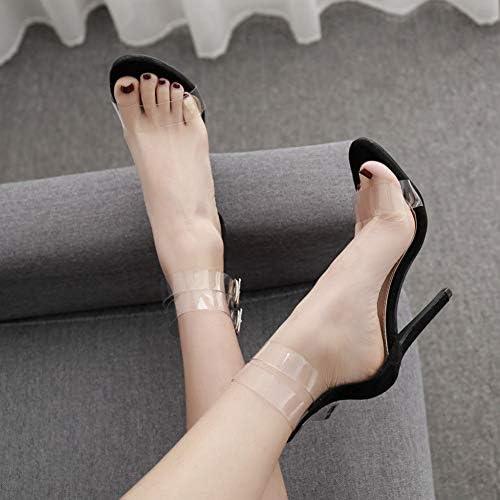 Femmes Pompes Transparent Boucle Strap Party Sandales épaisses avec Bouche Peu Profonde Bouche de Poisson Chaussure Talons Hauts Sandale
