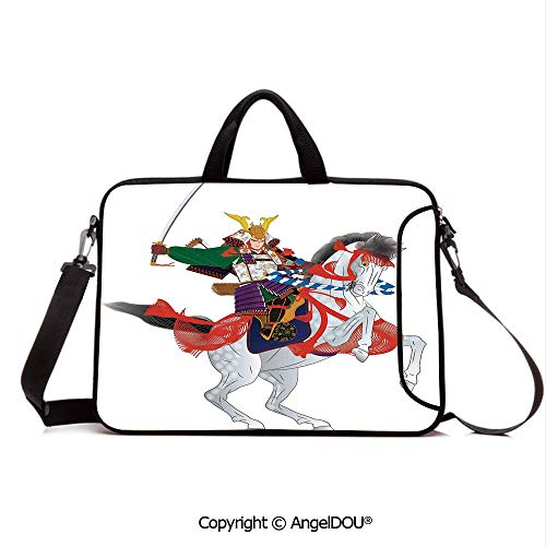 Mens Horse Prancing - AngelDOU Waterproof Laptop Sleeve Bag Neoprene Carrying Case with Handle & Strap an Asian Soldier with Local War Clothes Armour Riding a Prancing Horse Illustrat for Women &Men Work Home Office Red