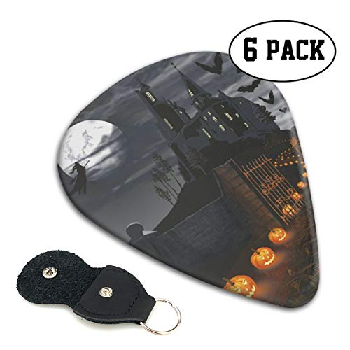 Teesofun Fashion ABS Plastic Guitar Picks Cool Halloween Castle Pumpkin Lights Cool Stylish Guitar Accessories 6 Pack for Acoustic, Electric, Original and Bass Guitars]()