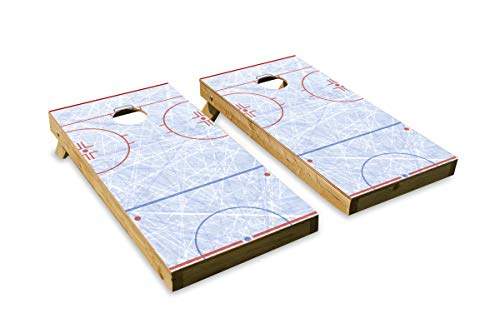 (Hockey Rink Design Cornhole/Bean Bag Toss Board Set - Made in USA Wood  - 2'x4' Tournament Size - Includes 8 Corn-Filled Bean Bags)