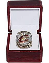 CLEVELAND CAVALIERS (Lebron James) 2016 NBA FINALS WORLD CHAMPIONS (King James) Rare & Collectible High-Quality Replica Silver NBA Basketball Championship Ring with Cherrywood Display Box