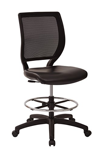 (Office Star Deluxe Woven Mesh Back Armless Drafting Chair with Padded Vinyl Seat and Adjustable Footring,)