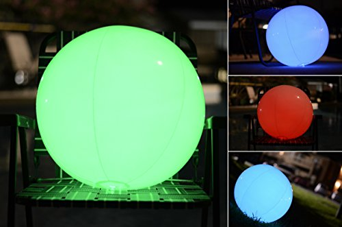 Light up Beach Ball [Large] | Glow in the dark with Color Changing LED Lights | Great for Parties, Pool, Barbecues, or Decoration by LED FURY