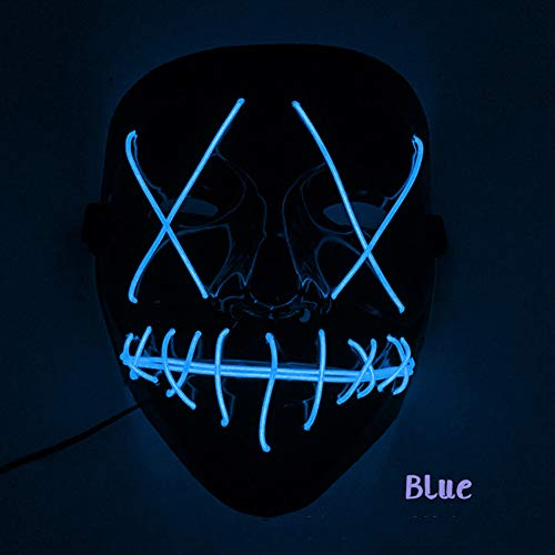 Leoie Halloween Scary LED Mask Light Up V-Shape Face Mask for Festival Party Cosplay Costume Navy -