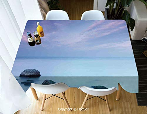 HooSo Fabric Rectangular Table Cloth, Washable Table Cover Perfect for Christmas, Thanks Giving, Dinner Parties, BBQ and Everyday Use,Seaside Decor,Baltic Sea Coast Autumn Sunset Evening,60