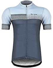 Summer Polyester Breathable Quick-drying Round Shoulder Short Sleeve Cycling Jersey For Men High Quality (Color : Gray)