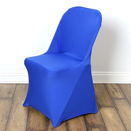 Efavormart 10PCS Stretchy Spandex Fitted Folding Chair Cover Dinning Event Slipcover for Wedding Party Catering - Royal Blue -
