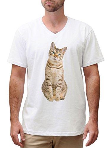 Bengal Cat Printed Cotton Short Sleeves V-neck Men T-shirt MTS_02 M