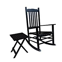 Rockingrocker - S001BK Black Porch Rocker With Side Table - Set of 2 pcs Good Price!!!