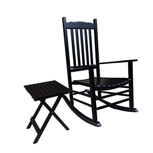 Rocking Rocker - S001BK Black Porch Rocker with Side Table - Set of 2 pcs Good -