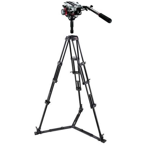 Manfrotto 545GB 3-Stage, 3-Section Twin Leg, Lightweight Aluminum Pro Video Tripod with Floor-Level Spreader - Bundle With Manfrotto 504HD Video Fluid Quick Release Head