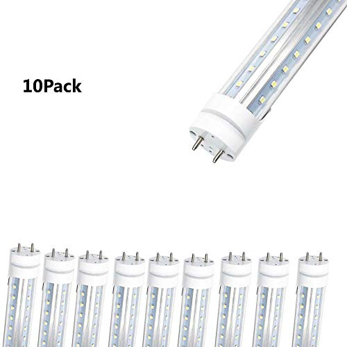 WeiSenLED 5ft 60 inch T8 LED Tube Light Fixture - 45W Double Row Bi Pin Base G13 6500K Clear Cover,Dual-End Powered, Ballast Removal, Replace Fluorescent Bulb Shop,Warehouse, Office Lamp 10Pack