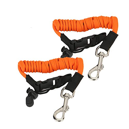 Kayak Paddle Leash 2 Packs, Kayak Lanyard Canoe Rod Leash Boat Oar Leash Straps, Adjustable Bungee Leash Stretches to 50 inches