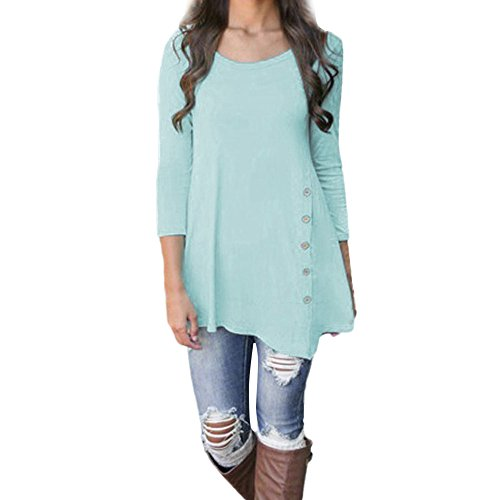 iLH Lightning Deals Tunic Top,ZYooh Women 3/4 Sleeve Loose Button Trim Blouse Solid Color Round Neck Blouse T-Shirt (Blue, M)