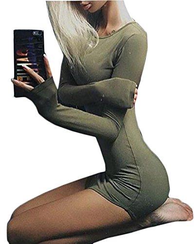 Matita Lunga Sottile Jaycargogo Vestito Femminile Verde Girocollo Bodycon Esercito Manica 4OCnRqx
