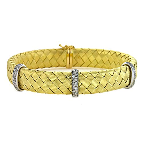 (0.42 Ct Diamonds 18k Yellow Gold Basket-Weave Braided Flexible Textured Finish Bangle Bracelet)