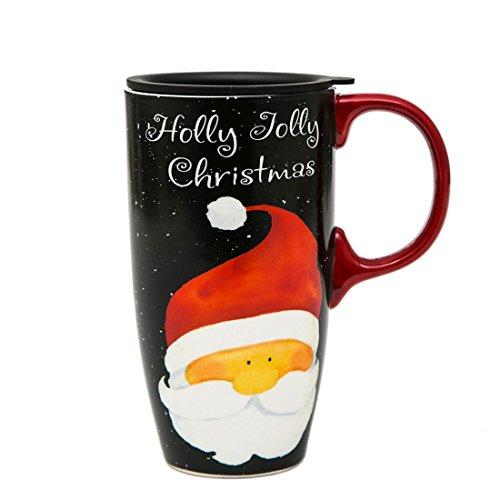 A Ting Tall Ceramic Travel Mug 17 oz. Sealed Lid Without Gift Box (Holly Jolly) (Lid Mug Pottery)