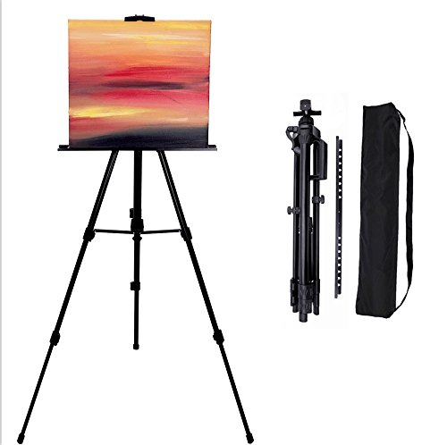 66 Inch Art Tripod Easel Stand- Adjustable Aluminum Floor Easels for Artist Painting, Displaying, Travel Case